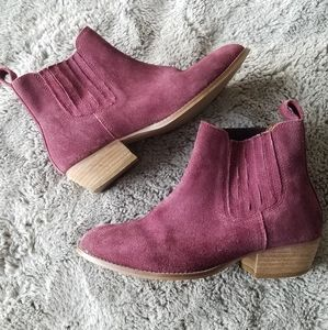 Urban Outfitters Eggplant Suede Ankle Booties